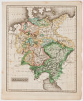 Books:Maps & Atlases, A Striking Hand-Colored Map of the Regions of Germany. Attributed to Sidney Morse. [New Haven], c. 1823. Measures 11 x 9 inc...