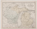 Books:Maps & Atlases, Samuel Augustus Mitchell. Michigan and Wisconsin, plate XIIa from Mitchell's Modern Atlas. c. 1871. Lightly ...