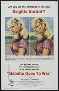 "Movie Posters:Comedy, Babette Goes to War (Columbia, 1960). One Sheet (27"" X 41""). Comedy. Starring Brigitte Bardot, Jacques Charrier, Yves Vincen..."