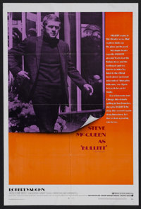 "Bullitt (Warner Brothers, 1968). One Sheet (27"" X 41""). Action Thriller. The great Steve McQueen stars as a to..."