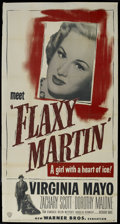 "Movie Posters:Crime, Flaxy Martin (Warner Brothers, 1949). Three Sheet (41"" X 81"").Crime. Starring Virginia Mayo, Zachary Scott, Dorothy Malone,..."