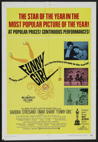 "Funny Girl (Columbia, 1968). Academy Award One Sheet (27"" X 41""). Musical Comedy. Starring Barbra Streisand, O..."