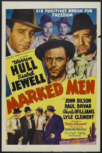 "Marked Men (Producers Releasing Corporation, 1940). One Sheet (27"" X 41""). Mystery. Starring Warren Hull, Isab..."