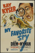 "Movie Posters:Comedy, My Favorite Spy (RKO, 1942). One Sheet (27"" X 41""). Comedy. Starring Kay Kyser, Ellen Drew, Jane Wyman, Robert Armstrong and..."