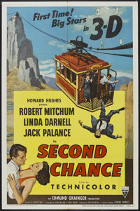 "Second Chance (RKO, 1953). One Sheet (27"" X 41""). Thriller. Starring Robert Mitchum, Linda Darnell, Jack Palan..."