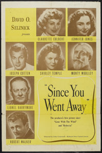 "Since You Went Away (United Artists, 1944). One Sheet (27"" X 41""). Drama. Starring Claudette Colbert, Jennifer..."