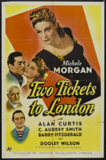 "Movie Posters:War, Two Tickets to London (Universal, 1943). One Sheet (27"" X 41"").War. Starring Michèle Morgan, Alan Curtis, C. Aubrey Smith a..."