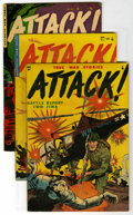 Golden Age (1938-1955):War, Attack #1 and 3-6 Group (Youthful Magazines, 1952) Condition:Average FN....