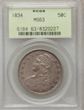 Bust Half Dollars, 1834 50C Small Date, Small Letters MS63 PCGS. O-109, R.1....