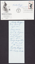 """Autographs:Celebrities, Bobby Riggs First Day Cover Signed """"Bobby Riggs"""" with accompanying autograph note signed twice and found on the back of ..."""