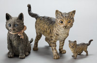 A GROUP OF THREE AUSTRIAN COLD-PAINTED BRONZE FIGURES: CATS Circa 1900 Marks