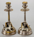 Sculpture, A PAIR OF AUSTRIAN GILT AND COLD-PAINTED FIGURAL BRONZE CANDLE STICKS . Circa 1900 . 7-1/8 inches high (18.1 cm). ... (Total: 2 Items)