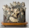 Bronze:European, AN AUSTRIAN COLD-PAINTED BRONZE AND WOOD FIGURAL LETTER RACK .Circa 1900 . 6-1/4 inches high (15.9 cm). ...