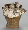 Paintings, AN AUSTRIAN COLD-PAINTED FIGURAL BRONZE FIGURAL INKWELL: BASKET OF KITTENS . Circa 1900 . 3 inches high (7.6 cm). ...