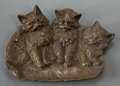 Bronze:European, AN AUSTRIAN BRONZE FIGURAL ASHTRAY: CATS . Circa 1900 .Marks: B&H, 1640. 6-3/4 inches long (17.1 cm). ...