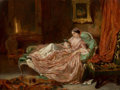 Fine Art - Painting, European:Other , VICTOR JOSEPH CHAVET (French, 1822-1906). Woman Reading,1848. Oil on panel. 6-1/2 x 8-1/2 inches (16.5 x 21.6 cm). Sign...