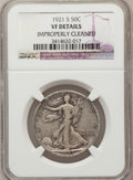 Walking Liberty Half Dollars: , 1921-S 50C -- Improperly Cleaned -- NGC Details. VF. NGC Census:(64/272). PCGS Population (85/356). Mintage: 548,000. Numi...