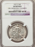 Walking Liberty Half Dollars, 1927-S 50C -- Obverse Improperly Cleaned -- NGC Details. AU. NGCCensus: (7/487). PCGS Population (17/677). Mintage: 2,392,...