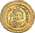 Ancients:Byzantine, Ancients: Maurice Tiberius (582-602). AV solidus (4.42 gm). ...