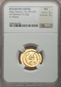 Ancients:Byzantine, Ancients: Maurice Tiberius (582-602). AV semissis (2.23gm). ...