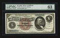 Large Size:Silver Certificates, Fr. 263 $5 1886 Silver Certificate PMG Choice Uncirculated 63.. ...