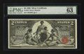 Large Size:Silver Certificates, Fr. 248 $2 1896 Silver Certificate PMG Choice Uncirculated 63.. ...