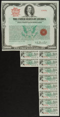 Large Size:Demand Notes, $5,000 U.S. Treasury Bearer Bond. About New.. ...