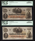 Confederate Notes:1862 Issues, T41 $100 1862 PF-12 Cr. 317A. Two Examples.. ... (Total: 2 notes)