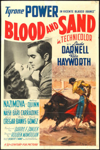 "Blood and Sand (20th Century Fox, 1941). One Sheet (27"" X 41"") Style A. Drama"