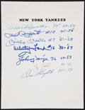 Baseball Collectibles:Others, New York Yankees Multi Signed Sheet....