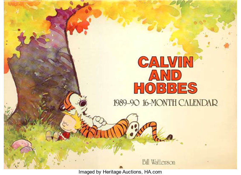 Bill Watterson Calvin and Hobbes 1989-90 Calendar Cover Watercolor ...