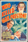 "Movie Posters:Crime, Who Killed Gail Preston (Columbia, 1938). One Sheet (27"" X 41"").Crime.. ..."