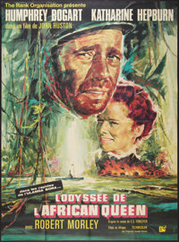 """The African Queen (Rank, R-1965). French Grande (47"""" X 63""""). Adventure"""