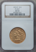 Liberty Eagles, 1853/2 $10 AU53 NGC. FS-301....