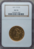 Liberty Eagles, 1851-O $10 AU55 NGC. Variety 1....