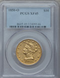Liberty Eagles, 1850-O $10 XF45 PCGS. Variety 1....