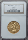 Liberty Eagles, 1850 $10 Small Date AU53 NGC....