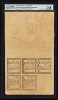 Colonial Notes:Pennsylvania, Pennsylvania Middle-Ferry on Schuylkill/Joseph Ogden January 18,1777 3d-4d-5d-6d-9d Double Uncut Sheet of Ten Rem... (Total: 1sheet)