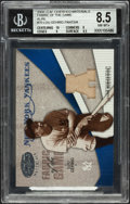 """Baseball Cards:Singles (1970-Now), 2004 Leaf """"Fabric of the Game"""" Lou Gehrig Jersey Swatch Card BVG8.5 - #'d 4/4. ..."""