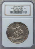 Trade Dollars, 1876-CC $1 Doubled Die Reverse AU50 NGC. FS-801....