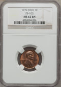 Lincoln Cents, 1972 1C DDO FS-103 MS62 NGC. NGC Census: (0/0). PCGS Population(2/165). (#38019)...
