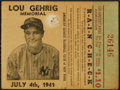 Baseball Collectibles:Tickets, 1941 Lou Gehrig Memorial New York Yankees Ticket Stub, July 4th1941....
