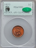 Indian Cents, 1892 1C MS65 Red PCGS. CAC....