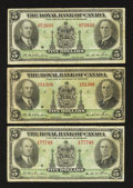 Canadian Currency: , Montreal, PQ- The Royal Bank of Canada $5 Jan. 2, 1935 Ch. #630-18-02. ... (Total: 3 notes)