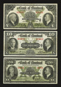 Canadian Currency: , Trifecta of Bank of Montreal Small Size Notes. ... (Total: 3 notes)