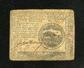 Colonial Notes:Continental Congress Issues, Continental Currency February 17, 1776 $4 Very Fine. Sizeablemargins and bold signatures are seen on this Continental note ...