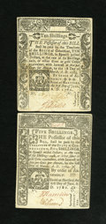 Colonial Notes:Connecticut, Connecticut June 1, 1780 5s and 10s Pair Choice About New. A very attractive pair from the face without the typical hole can... (Total: 2 notes)
