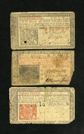 Colonial Notes:New Jersey, New Jersey March 25, 1776 Trio Very Fine. Three different denominations of this 1776 issue are found in this group. They al... (Total: 3 notes)