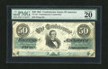 Confederate Notes:1861 Issues, CT16 $50 1861. This popular counterfeit issue has been cut cancelled. It is graded Very Fine 20 by PMG....