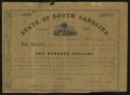 Confederate Notes:Group Lots, State of South Carolina $100 Bond Jan. 1, 1861 Very Fine. A topedge notch and a couple of small holes are noticed....